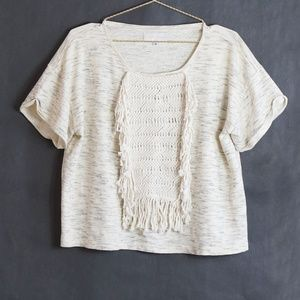 Anthropologie Fringe Heathered Short Sleeve Top S